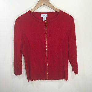 Carmen Marc Valvo Red Zip Up Cardigan Size XL